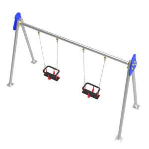 Columpio infantil para guarderías. Modelo biplaza metálico con asientos cuna