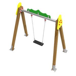 Columpio Monoplaza asiento plano para parques infantiles