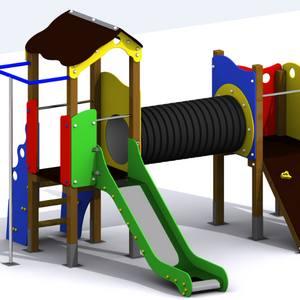 Conjunto Nervión - Parque Infantil con 2 torres, túnel, tobogán y barra de bomberos