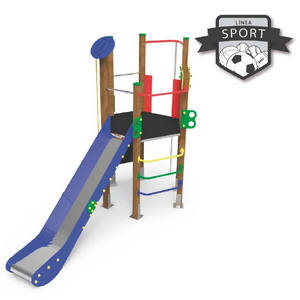 Maxi Torre HEXÁGOO con tobogán, juego de trepa, cuerda de escalada y rocódromo