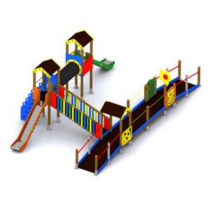 Parque infantil inclusivo con toboganes y juegos adaptados. Conjunto Dulcinea