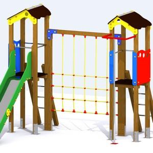 Parque infantil Río Sil con 2 torres, tobogán, barra de bomberos y juego de trepa