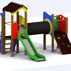 Parque Infantil Turia. Conjunto de 2 torres con túnel, tobogán y trepa