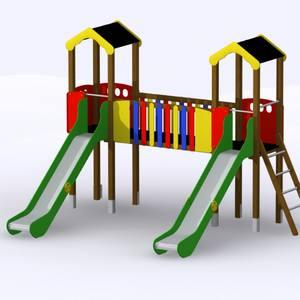 Conjunto 2 torres con pasarela y toboganes. Parque infantil Miño