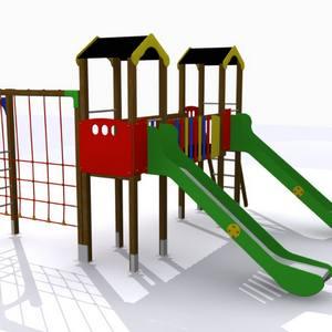Parque infantil Guadiana con 2 torres, 2 toboganes y juego de trepa