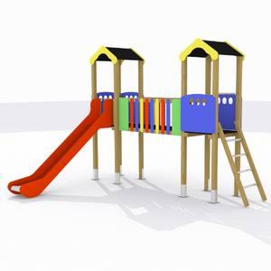 Parque infantil Sella. Conjunto 2 torres con pasarela y tobogán