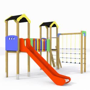 Parque infantil Tajo con 2 torres, pasarela elevada, tobogán y juego de trepa