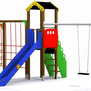 Torre parque infantil con trepa, tobogán y columpio. Conjunto Guadalquivir