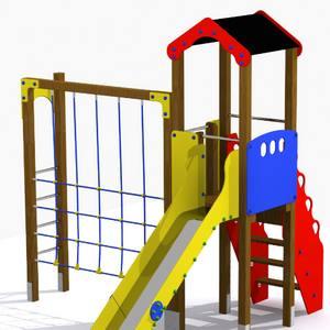 Torre con juego de trepa y tobogán para parques infantiles. Conjunto Júcar