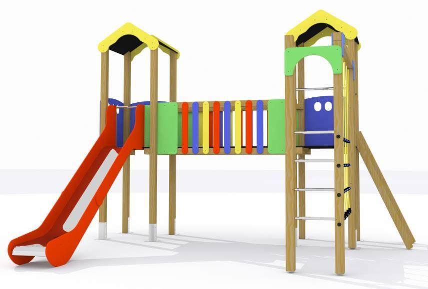 Parque infantil Tajo: 2 torres, pasarela elevada, tobogán y trepa