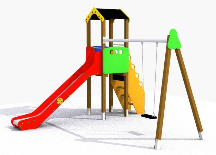 Torre tobog n con columpio parque infantil el mundo - Piscina infantil con tobogan ...