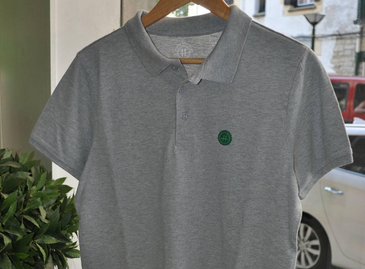Polo Gris Logo Verde