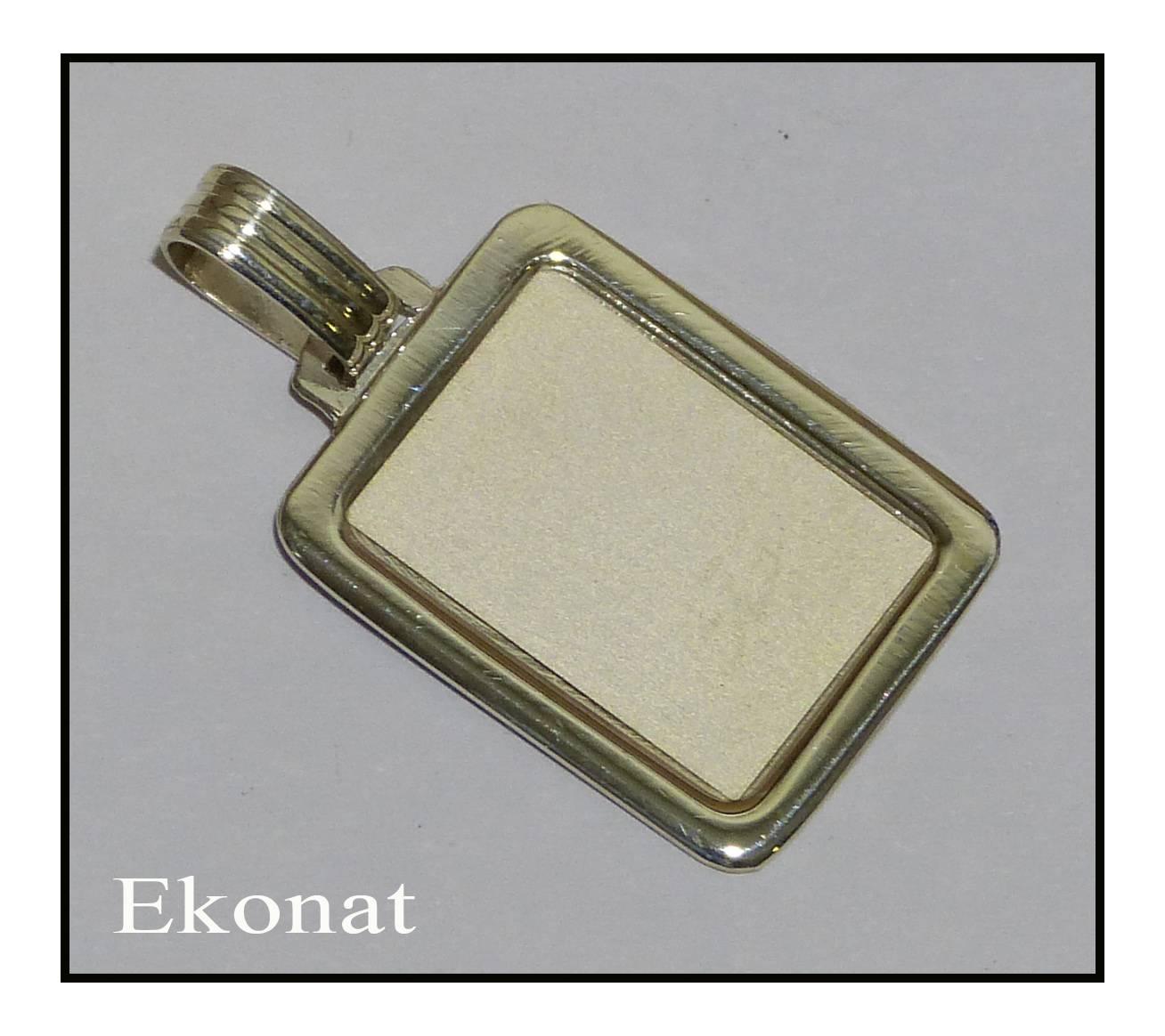 Chapa de plata rectangular con marco