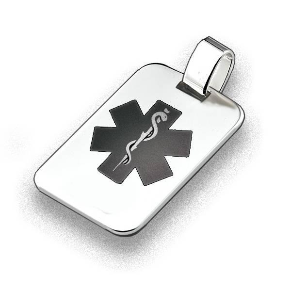 Chapa rectangular con grabado de alerta médica