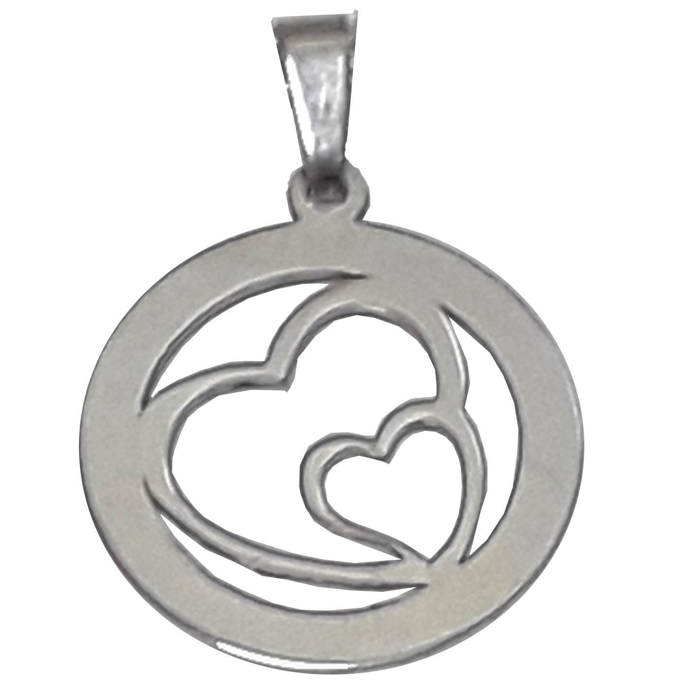 Colgante de plata con corazones calados