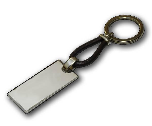 Llavero de plata de ley rectangular liso