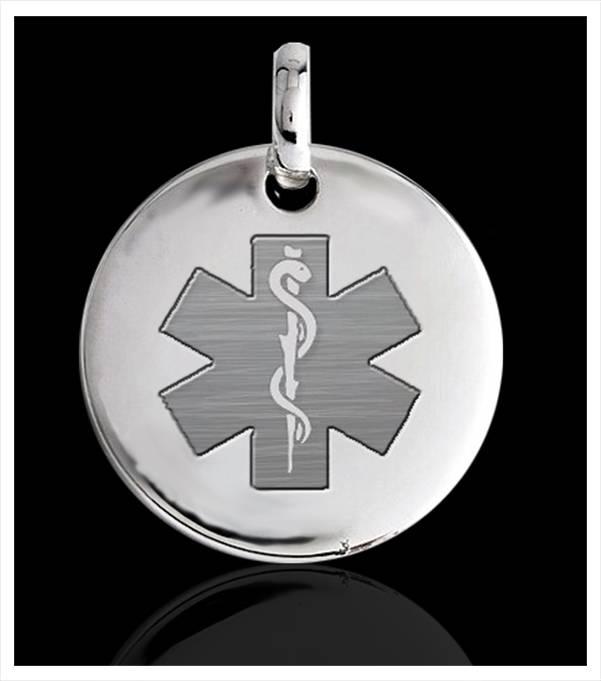 Chapa circular lisa para alergias  con símbolo alerta médica